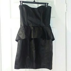 Venus Vegan Leather (Pleather) Peplum Dress Size 8